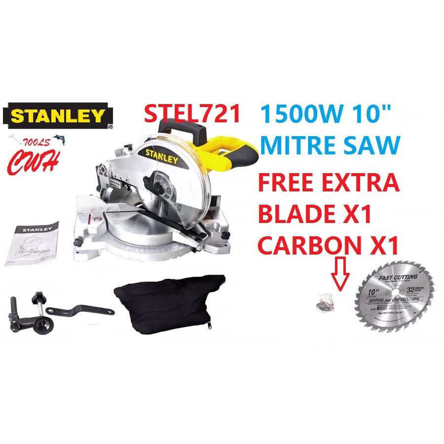 """SM16 Stanley 1600W 254mm 10"""" Mitre Saw MITER SAW CHOP WOOD CUT OFF CUTTING STEL 721"""