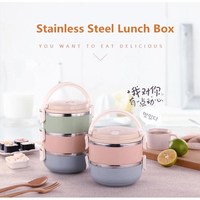 [allbuy] Multicolor Stainless Steel Thermal Insulated Lunch Box Picnic  Container