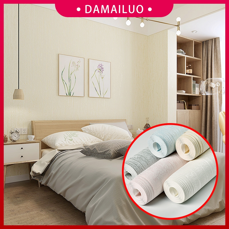 US 10m Roll Simple Non-woven Vertical Stripe 3D Wallpaper Modern Bedroom