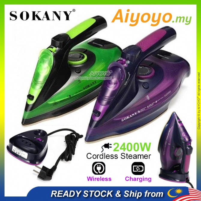 SOKANY Cordless Steam Iron Steamer HJ 2085 Wireless Iron Rechargeable Iron Handheld Portable Iron Garment Steam Sterika