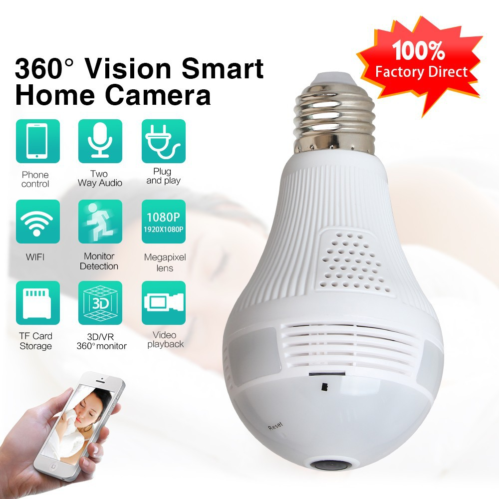 🔥IP camera 🔥1080p WIFI bulb panoramic camera 360 degree 3D fisheye camera