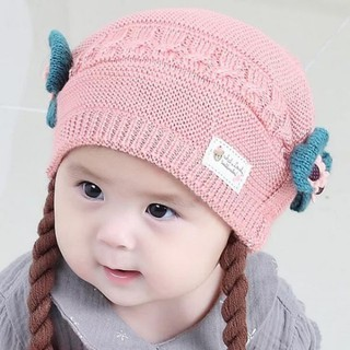 7745978bd Baby Kids Fur Pom Bobble Cap Newborn Boys Girl Warm Knit Beanie Hat ...
