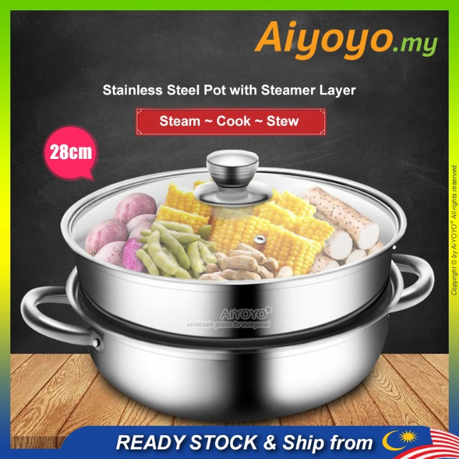 2 Layer Steam Pot Periuk Kukus Pengukus Steamer Cookware Periuk Masak Cooking Cooker Kitchen Stainless Steel Gas Stove U