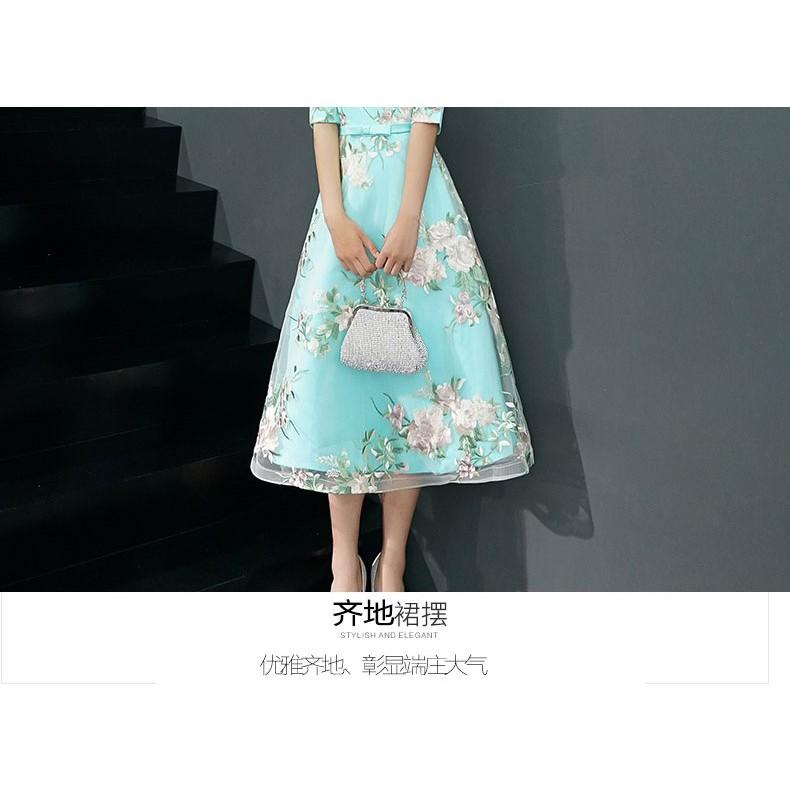 Cheongsam/ Qipao/Evening Dress/ Gown/Dinner Party CNY/ Midi Dress 新款中长款旗袍连衣裙/晚礼服