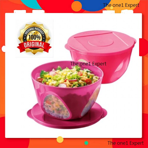 Tupperware Outdoor Dining Bowl + Ezy Oval Keeper Pink Set 8pcs/Oval keeper 450ml 4pcs Level