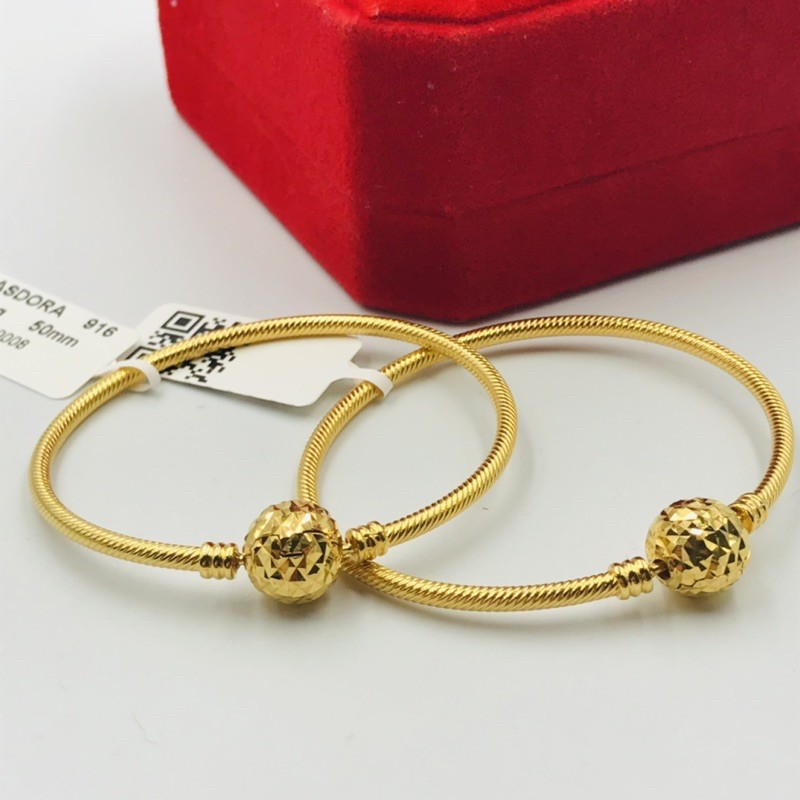 Gelang Emas Masdora Keras Kelip Bulat / Masdora Gold Bangle Round clasp (Emas 916)