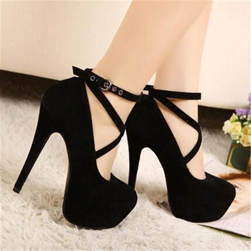 sono malato promettere commerciante  💎ready stock 💎shoes Ladies Thin women Heels Pumps Oversize Cross Strap ( Black) | Shopee Malaysia