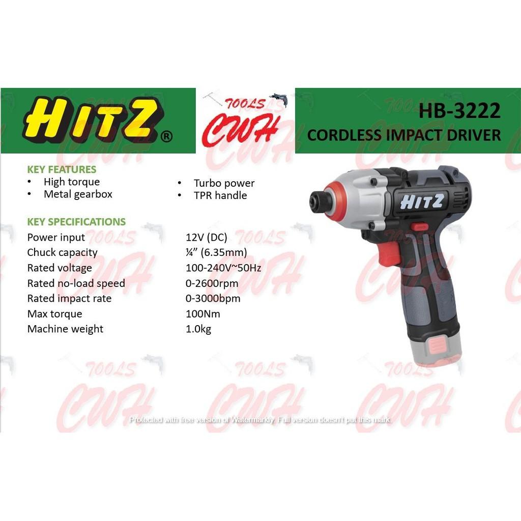 HITZ HB-3332 12V 100Nm IMPACT DRIVER