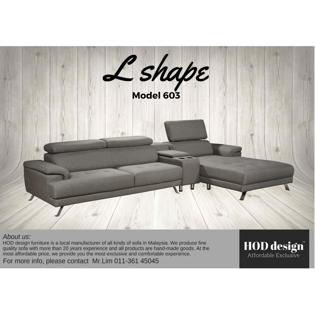 Hod Design Fabric Leather L Shape Sofa Shopee Malaysia