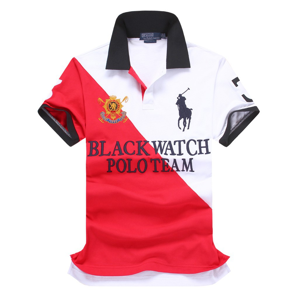 2493057b5d167 Ralph Lauren Men Custom-Fit Black Watch Polo Shirt Team Red White Stripe