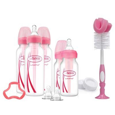 Dr Brown: Narrow - Options - PP Bottles Gift Set - PINK / BLUE