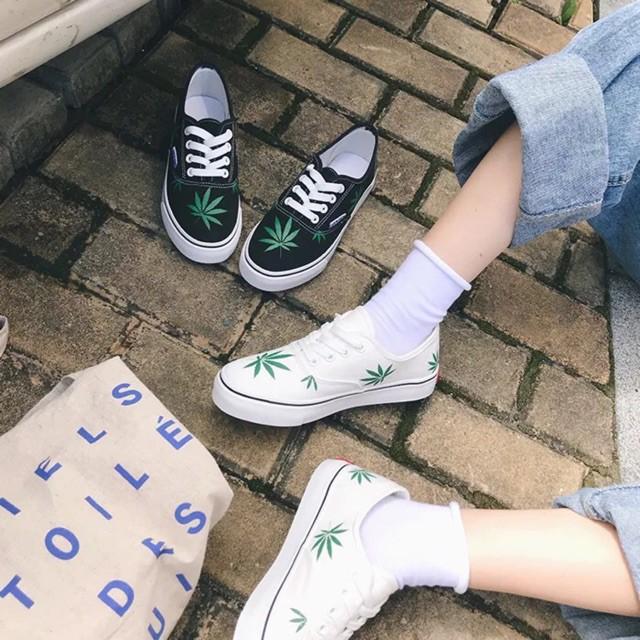 Korean Popular inspired weed vans sneakers shoes   Shopee Malaysia