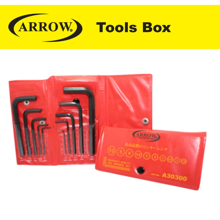 ARROW A30300 10 PIECES WALLET HEX WRENCH SET (MM)  EASY USE SAFETY GOOD QUALITY