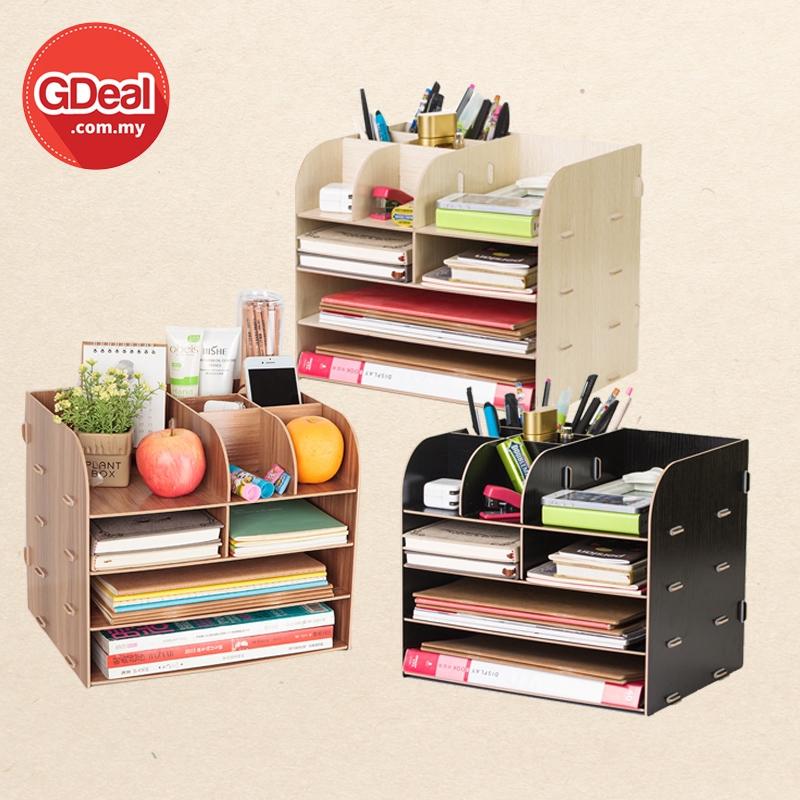 GDeal Office Supplies Large Desktop Drawer Storage Box Wooden Desk Makeup Tools Stationery Organizer Kotak Simpanan