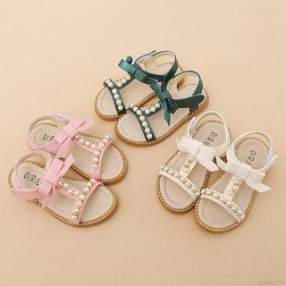 Baby Girls Kid Flower Pearl Sandals Beach Toddler Princess First Walkers Shoes K
