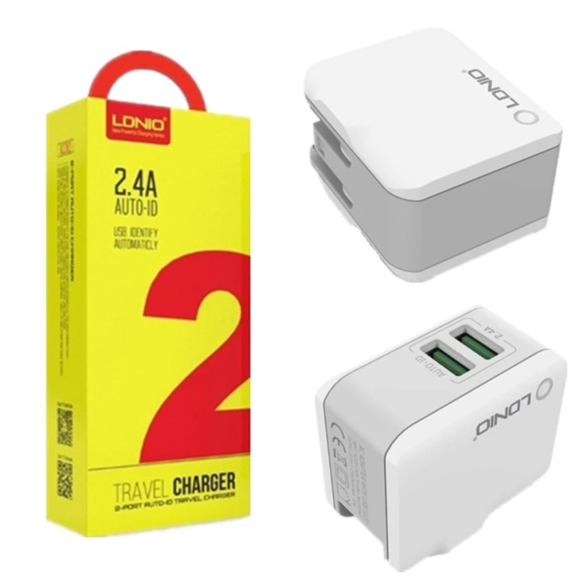 LDNIO A2203 2.4A 2-Port Auto ID Travel Charger