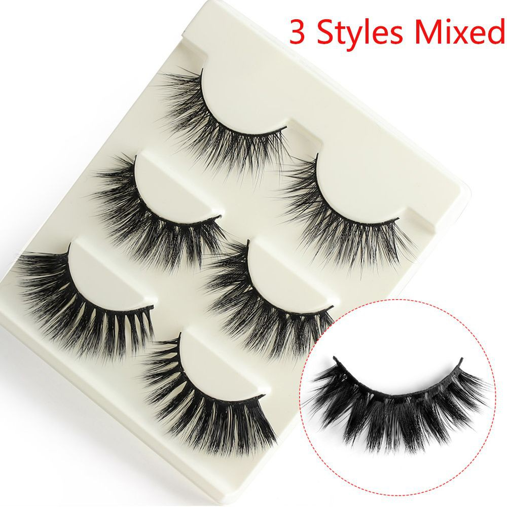 7fddd4011cc ProductImage. SKONHED 3 Pairs Handmade Wispy Fluffy Natural Thick Long  False Eyelashes