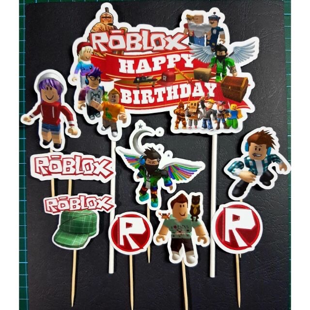 Aesthetic Lollipop Roblox Roblox Cake Topper Happy Birthday Ready Stock Laminated Material Shopee Malaysia