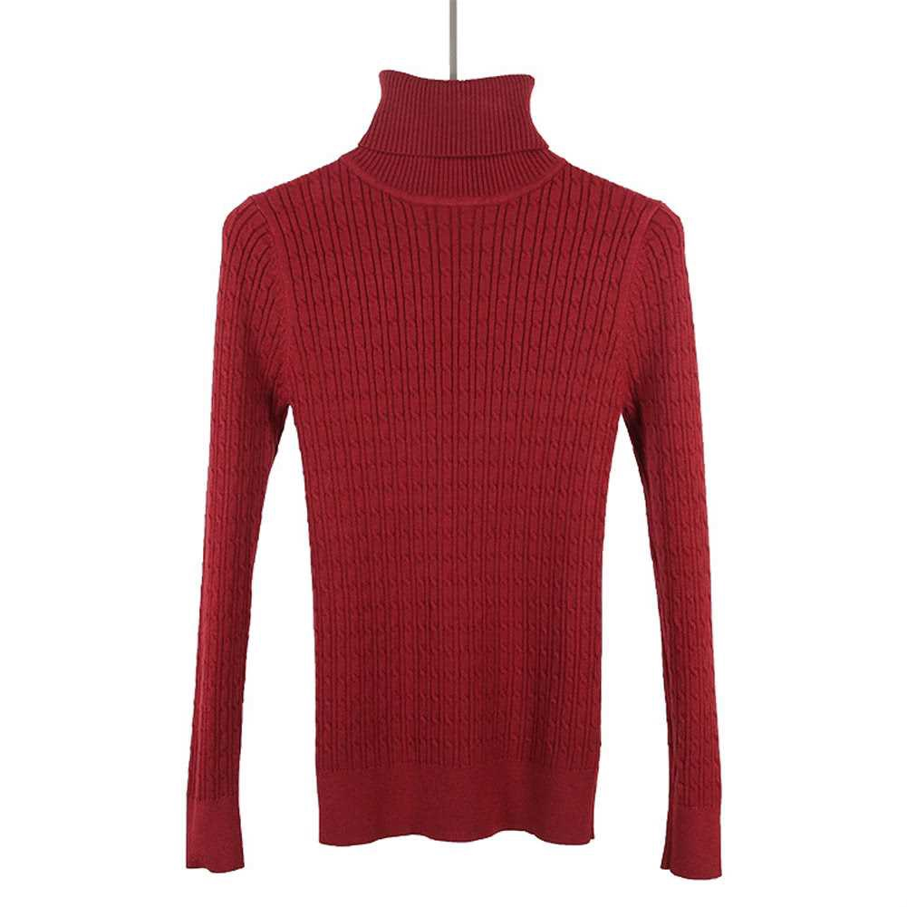 New Women Twist Knitted Sweater Solid Turtleneck Long Sleeve Slim Thickening Pullover Jumper Knitwear Top (Burgundy)