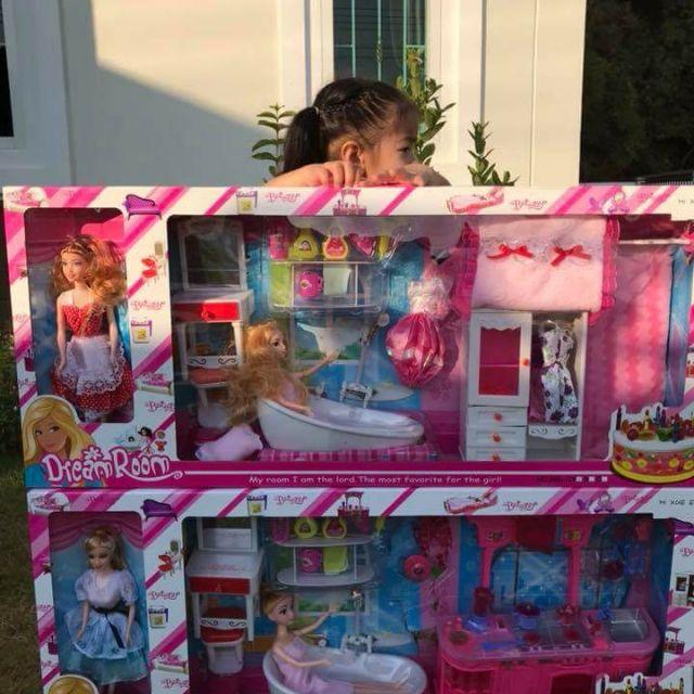 ตุ๊กตาบาร์บี้ห้องน้ำและห้องแต่งตัวกล่องใหญ่รุ่นใหม่ มีจ่ายปลายทางนัดรับ