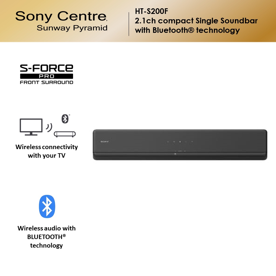 Sony HT-S200F 2.1ch Compact Single Sound Bar with Bluetooth Technology