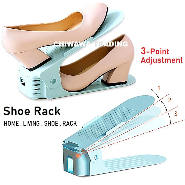 Buy 4 Free 1  DIY Double Layer Adjustable Save Space Plastic Shoe Rack Shoes Storage Organizer Rak Kasut