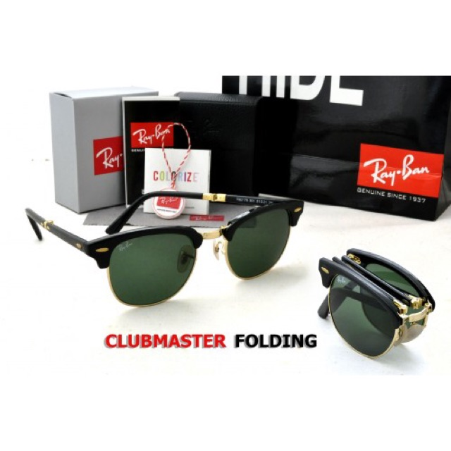 c0b9bee32 RayBan Clubmaster Folding RB2176 Black Frame, G-15 Lens | Shopee Malaysia