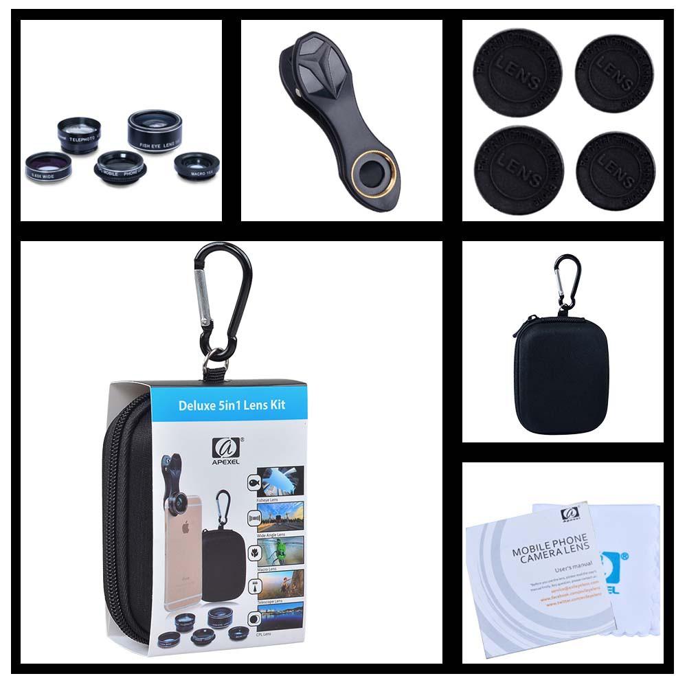 Apexel 5in1 camera Lens Kit for Hd Mobile Phone lens (APL-DG5H)