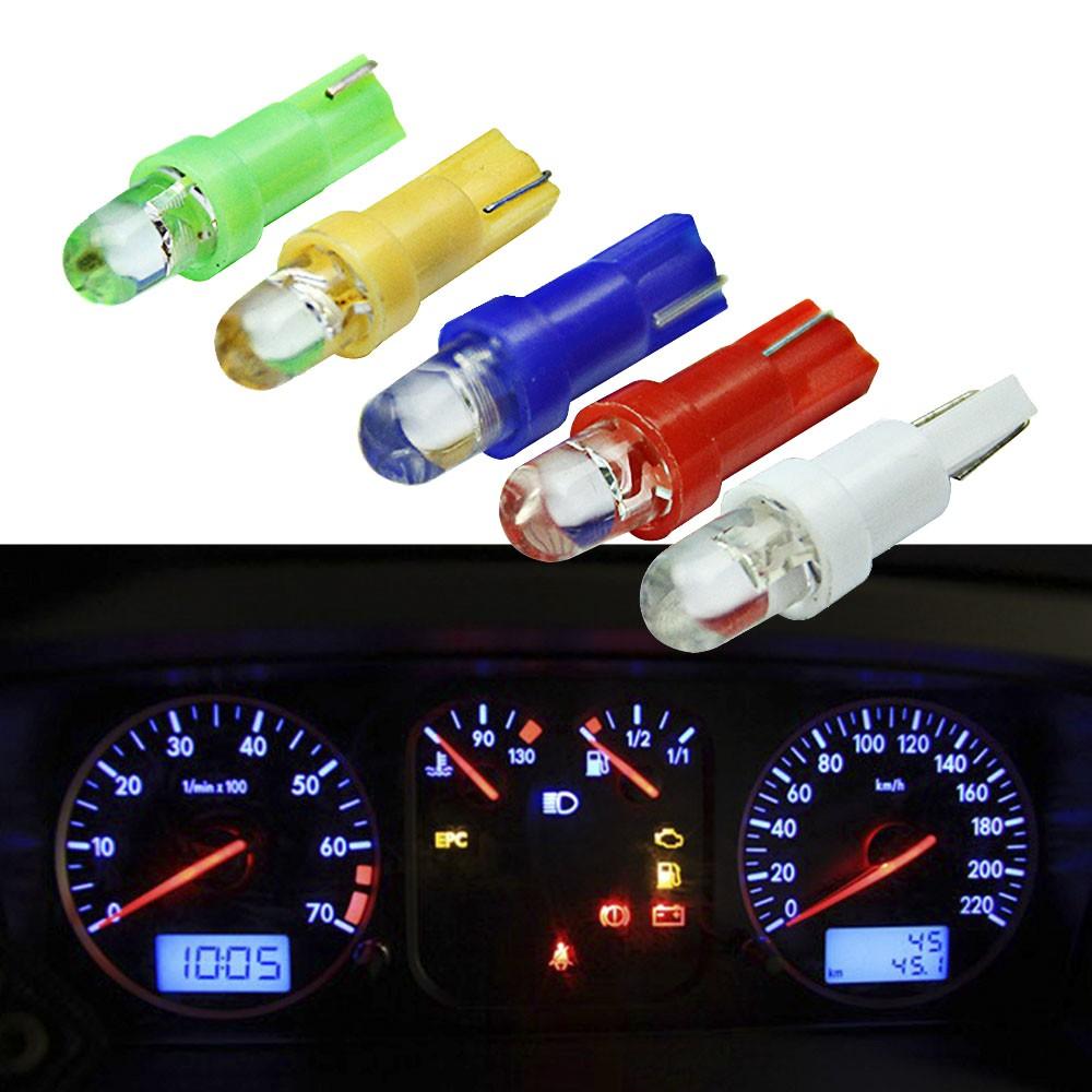 10Pcs Hot Wedge Side DC 12V Yellow Blue Green Red White Gauge Instrument Lights Indicator Lamp Led Dashboard Bulb T5