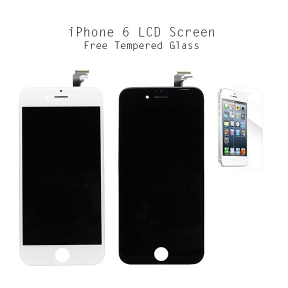 new style df7de e3a2b Original iPhone 6 LCD Display Full Digitizer Touch Screen & Tempered Glass