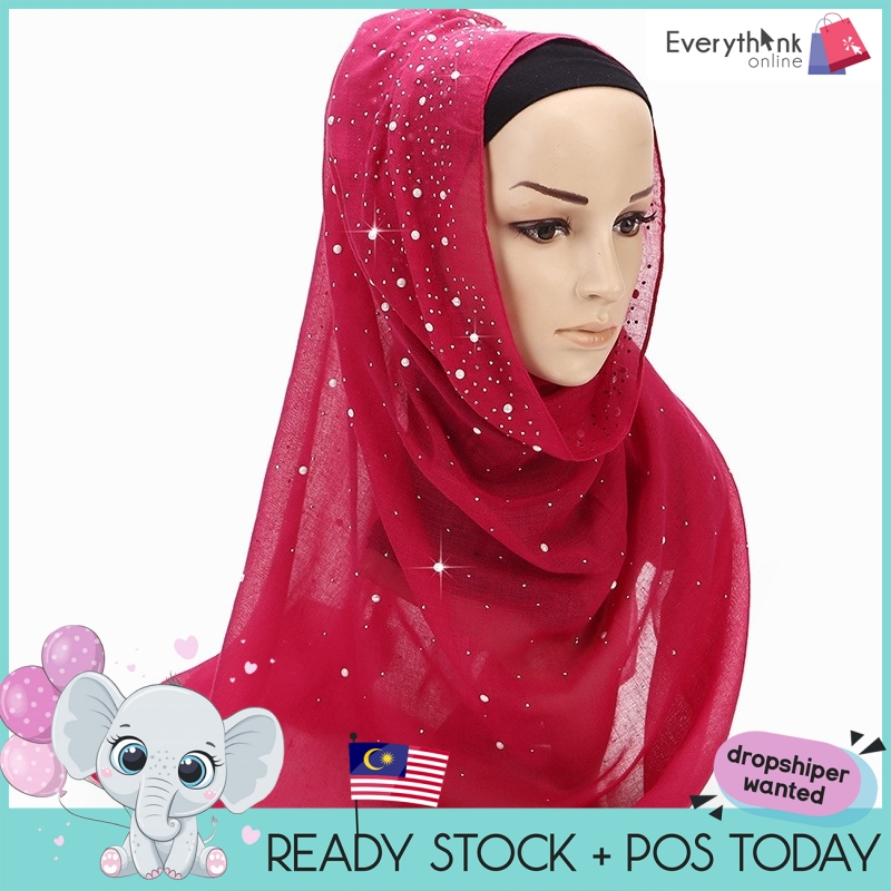 NEW  PREMIUM TUDUNG SHAWL MSL053 GOOD TR COTTON BATU KELILING CANDY COLOR