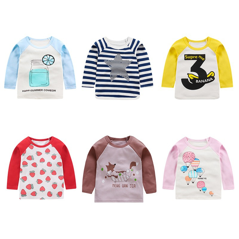 Toddler Kids Baby Boys Girls Cotton Long Sleeve Striped T-shirt Tops Tee Clothes