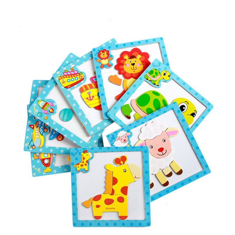 Kids Magnetic puzzle Cartoon Animals Dimensional Wooden Jigsaw Puzzle (1 Pc)
