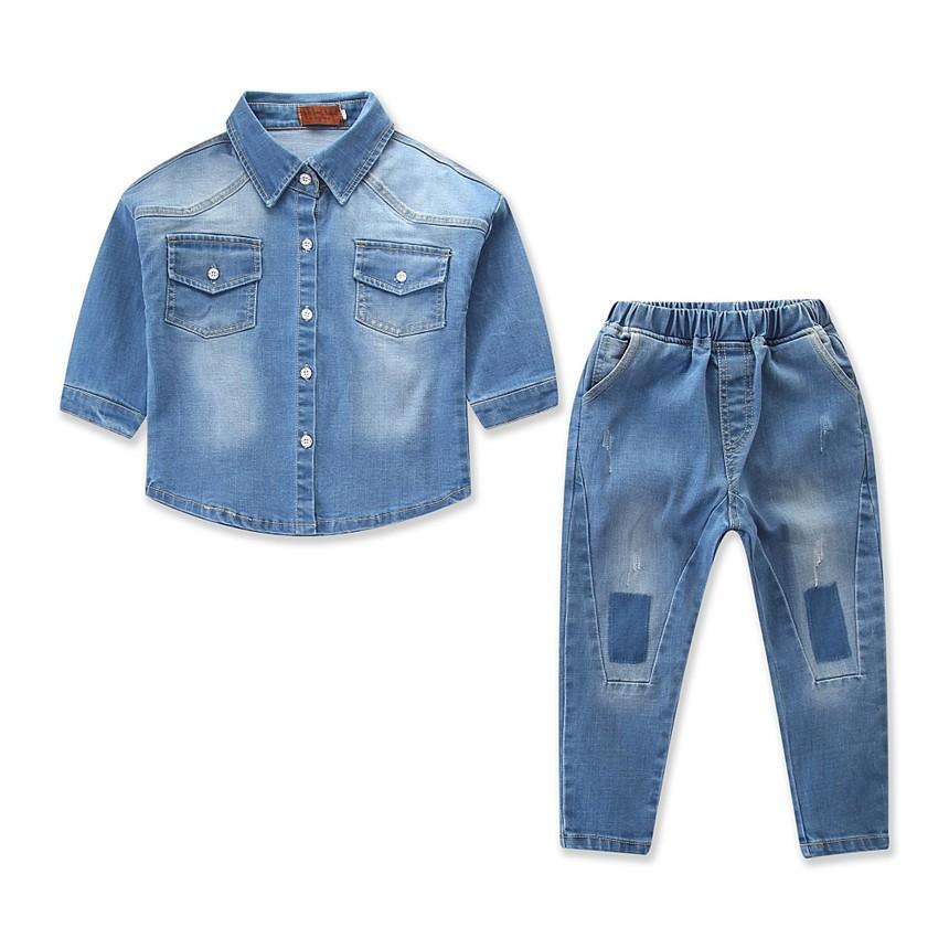 66a81fd012 ProductImage. ProductImage. Kids Clothing Denim Suit Cowboy Long Sleeve  Shirt Tops+jeans Pants 2pcs boys set