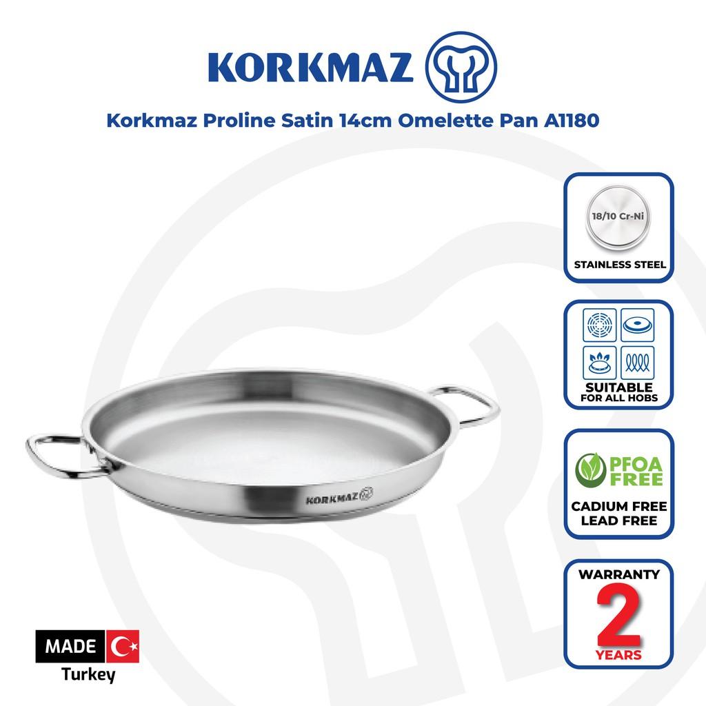 Korkmaz Proline Satin 18/10 Stainless Steel Omelette Frying Pan - Made in Turkey