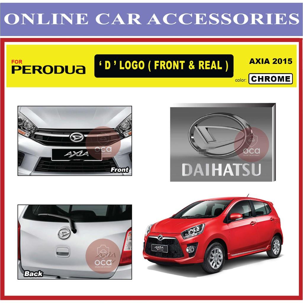PERODUA AXIA 2012-2016 Front and Rear Convert Daihatsu Chrome / Black ABS Logo Emblem (2pcs)
