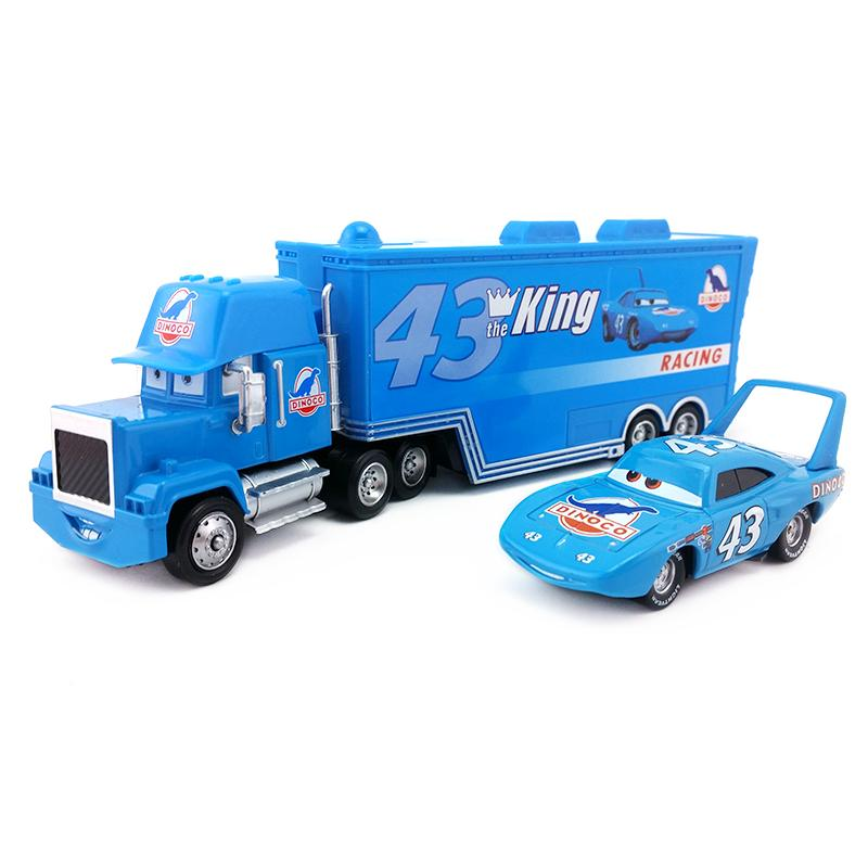 ce4b1d10431bf Disney Pixar Cars No.43 Mack Uncle Hauler Truck & King Metal Alloy ...