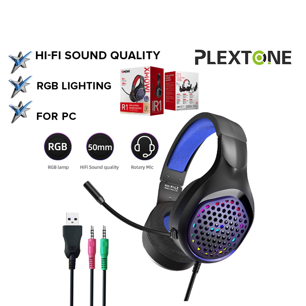 PLEXTONE Xmowi R1 RGB Light Gaming Headphone 50mm Speaker Bass Surround Sound HIFI Gaming Headphone Headset for PC