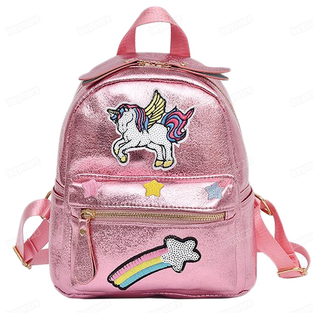 ce4fb5268aa Unicorn Rainbow Embroidery Backpack Girl Student Travel Bag