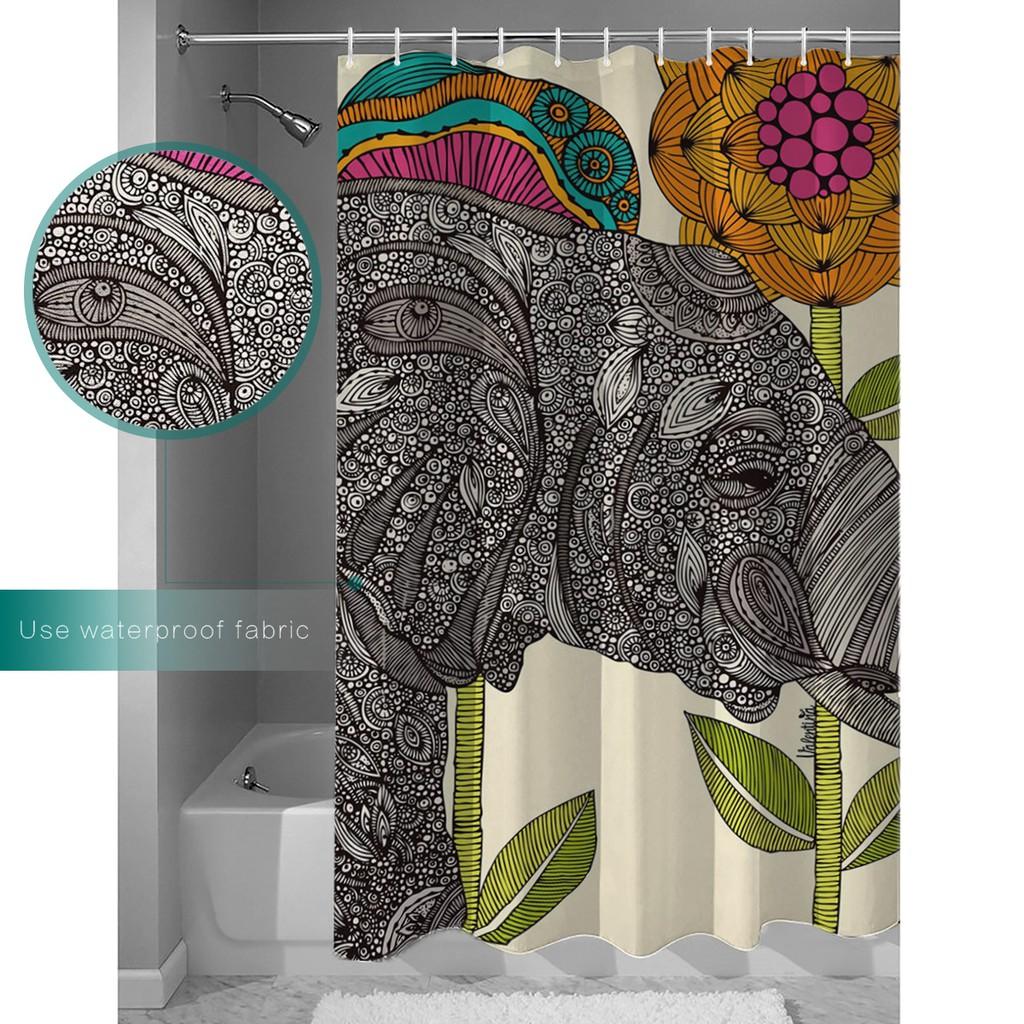 New Fashion Shower Curtain Smile Elephant Boho Style Mildewproof Bathroom Drapes Shopee Malaysia
