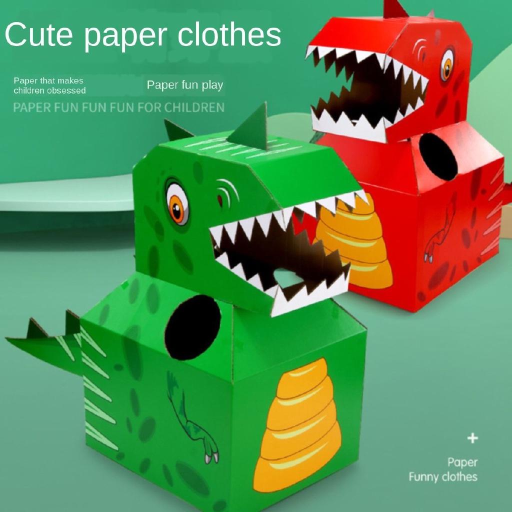 Tiktok paper dinosaur toy wearable handmade dinosaur role play Carton  children's toy   Shopee Malaysia