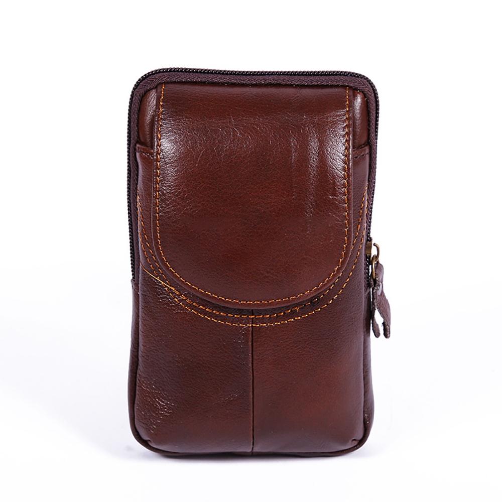 1pc Men Genuine Leather Cowhide Hip Belt Fanny Pack Waist Purse Sling Chest Bag