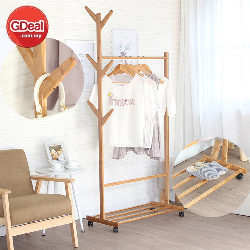 GDeal 100cm Non Bamboo Modern And Solid Design Multifunctional Floor Clothes Rack