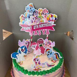 Custom Name Happy Birthday Cake Topper My Little Pony Decoration Kek Printable Set Siap Nama Party Majlis Hari Jadi Shopee Malaysia