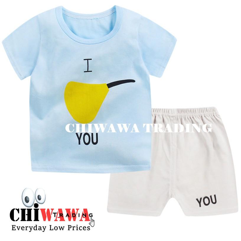 2 Pcs [ 100% Cotton ] Kid Clothes Short Sleeve T Shirt Top + Pants Clothing Suit