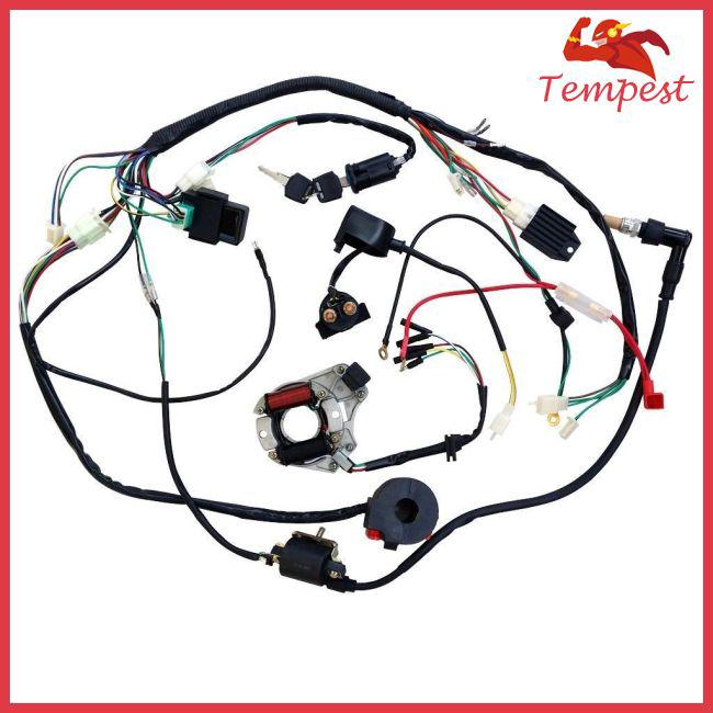 For 50 70 90 110CC ATV Quad Gokart Full Electrics Wire Harness Coil  And Atv Quad Wiring Diagram on