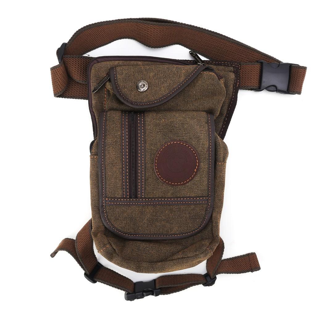 Tactical Men/'s Canvas Drop Leg Thigh Bag Waist Fanny Pack Belt Pouch Outdoor CF