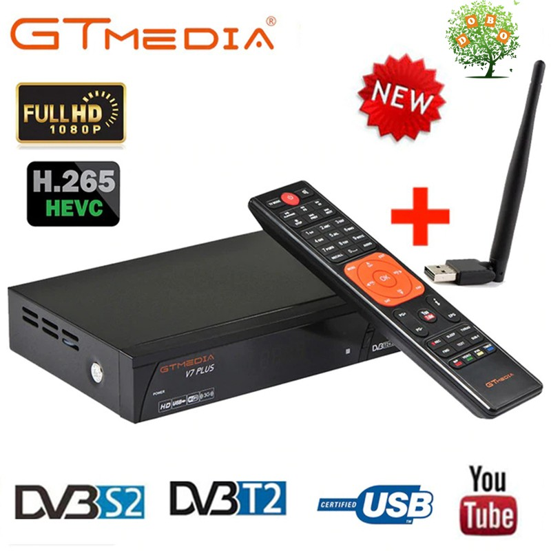 GTMEDIA V7 PLUS Freesat V7 DVB S2 Combo T2 HD Satellite TV Receiver Box USB  WiFi