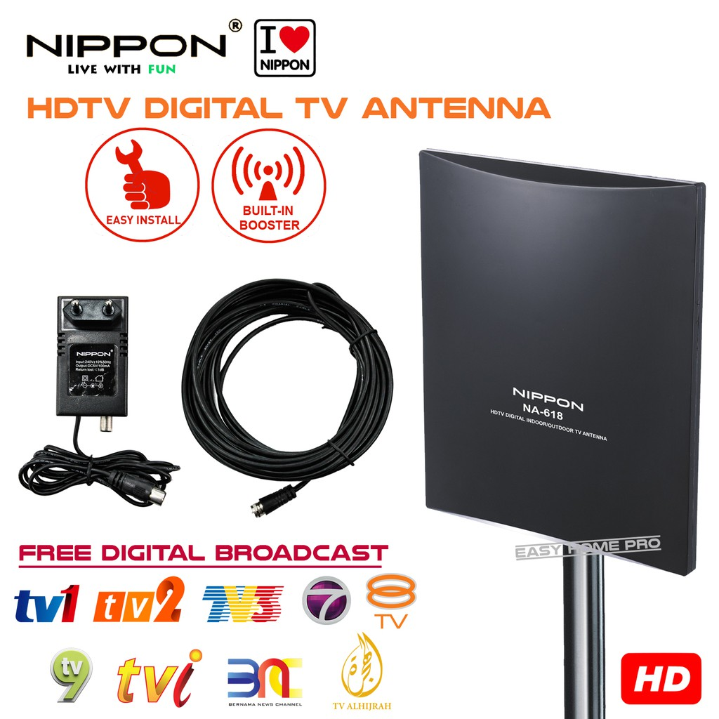 NIPPON NA-618 DIGITAL TV ANTENNA WITH BOOSTER FREE CABLE WATCH MYTV  MYFREEVIEW