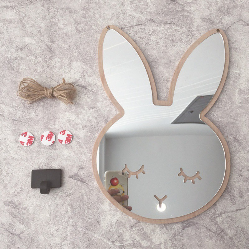 Broom Stick Bunny Mirror: Creative Bunny Wall Hanging Mirror Stickers Children's